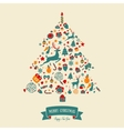 Christmas tree shape design Merry card vector image