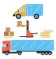 delivery truck for small boxes and heavy packages vector image