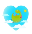 Dragon flying in sky fun cute cartoon vector image
