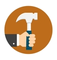 Man hand holding hammer vector image