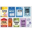 Retro baggage tags and travel stock vector image