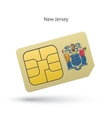 State of New Jersey phone sim card with flag vector image