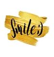 Smile Metallic Foil Shining Calligraphy Poster vector image