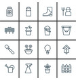 set of 16 holticulture icons includes shovel vector image