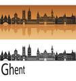 Ghent skyline in orange vector image vector image