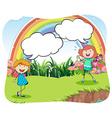 Girls in the park with bubble speech vector image