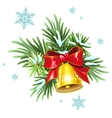 Fir branches red ribbon and golden bell vector image