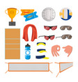 beach volleyball icons set volleyball vector image