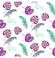 Monstera pink tropic plant leaves seamless pattern vector image vector image