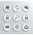 Web icons set - white round buttons vector image vector image