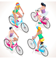 Girl Teen Cycling Isometric People vector image
