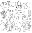 Hand draw school education doodles set vector image