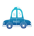 blue silhouette emergency police car transport vector image