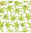 Cartoon kawaii weed seamless pattern white vector image