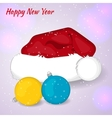 Cartoon Santa Claus hat with Cristmas balls in vector image