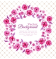 Floral watercolor wreath with pink flowers vector image