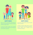 happy family poster with parents and two children vector image