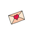 letter with heart cartoon icon vector image