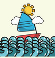 sailing boat in the sea with sun and waves vector image