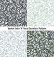 seamless patterns set floral grey vector image