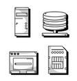 set technology data center service vector image