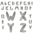 Silver metal alphabet with diamonds vector image