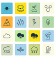 set of 16 ecology icons includes forest cactus vector image