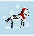 Santa horse sketch for your design Symbol of 2014 vector image vector image