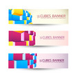 rows of cubes banners set vector image