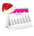 October 2015 desk calendar with Christmas hat vector image vector image