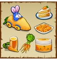 Set of dishes from carrots and toys six items vector image