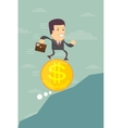 Business man running on a dollar coin vector image