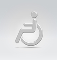 Silver wheelchair person icon vector