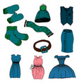 cartoon set of clothes vector image