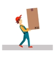 Delivery Man with Big Package vector image