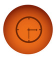 orange color circular frame with silhouette clock vector image
