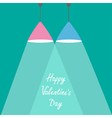 Pink and blue lamps with rays of light Valentines vector image