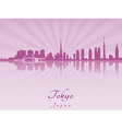 Tokyo skyline in purple radiant orchid vector image