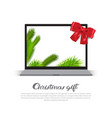 christmas gift poster with modern laptop holday vector image