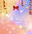 New year greeting card Christmas bow and ribbon vector image