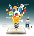 Open book infographic innovation idea light bulb vector image