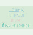 Financial typography with icon concept vector image