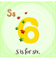 Flashcard letter S is for six vector image vector image