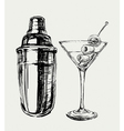 Sketch Martini Cocktails with Olives and Shaker vector image