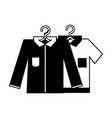 contour clean shirts design with clothes hanging vector image