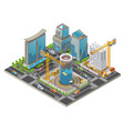 isometric under construction city concept vector image