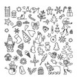 set of doodle cartoon objects and symbols on a new vector image
