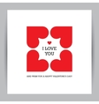Valentines day greeting card with four hearts vector image vector image