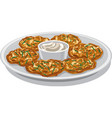 potato pancakes with sauce vector image