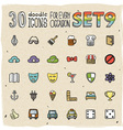 30 Colorful Doodle Icons Set 9 vector image
